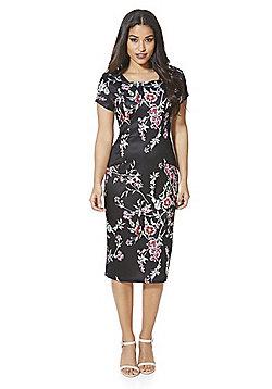 Stella Morgan Floral Print Midi Dress - Black multi