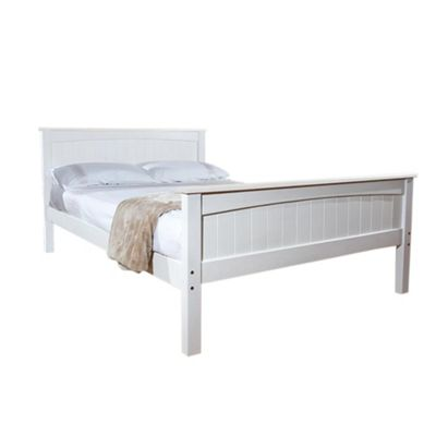 Comfy Living 3ft Single Solid Wooden Bed Frame in White with Damask Orthopaedic Mattress