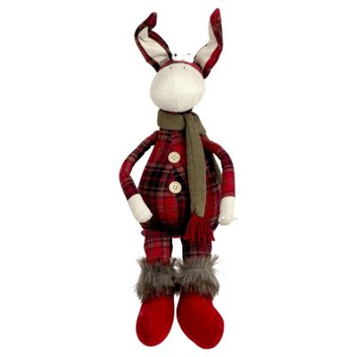 50cm Shelf-sitting Plush Tartan Donkey Christmas Ornament