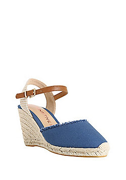 F&F Sensitive Sole Wide Fit Frayed Wedge Espadrilles - Blue