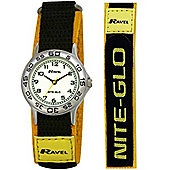 Boys Grey Yellow Nite-Glo Velcro Strap Watch