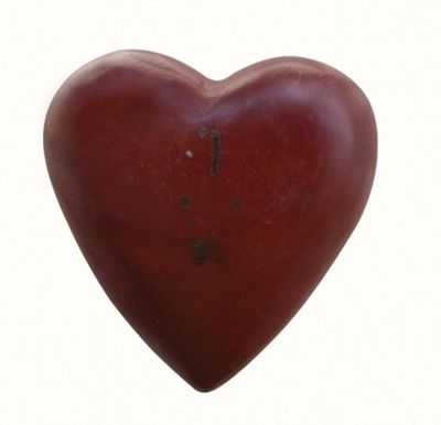 Painted Wooden Heart China Red
