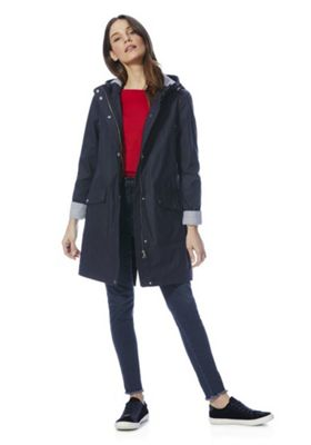 F&F Rubberised Shower Resistant Hooded Raincoat Navy 10