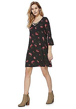 F&F Floral Spot Jersey Dress - Black
