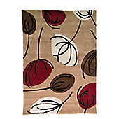 Infinite Inspire Fifties Floral Oblong Choc/Red Rug - 120X170 cm