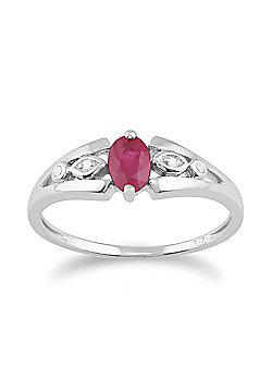 Gemondo 9ct White Gold 0.56ct Natural Ruby & Diamond Single Stone Ring