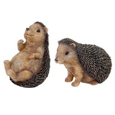 Set of 2 Small Polyresin Hedgehog Garden Animal Ornaments