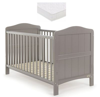 Obaby Whitby Cot Bed and Mattress - Taupe Grey