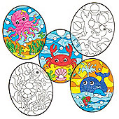 Sealife Colour-in Window Decorations for Children to Design Make and Display - Creative Craft Kit for Kids (Pack of 12)
