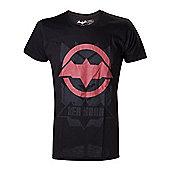 Dc Comics Batman Arkham Knight Red Hood Logo Extra Large T-shirt, Black (ts2htxban-xl) - Gaming T-Shirts