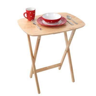 Premier Housewares Oval Snack Table - Rubberwood