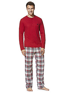 F&F Grandad Collar T-Shirt and Checked Bottoms Loungewear Set - Red