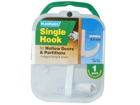 Plasplugs Hw124 Hollow Door Hook White