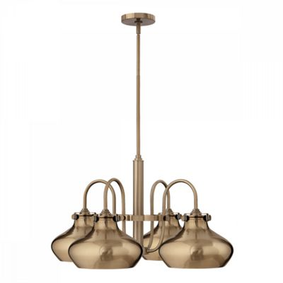 Brushed Caramel Metal Shade Chandelier - 4 x 100W E27