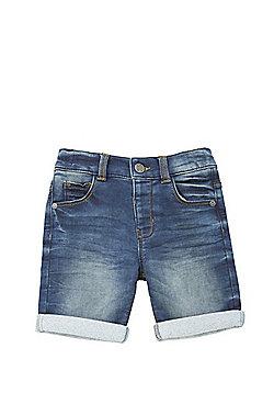 F&F Loopback Turn-Up Denim Shorts - Blue