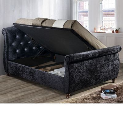 Happy Beds Toulouse Velvet Fabric Side Ottoman Storage Bed with Open Coil Spring Mattress - Black - 4ft6 Double