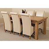 Richmond Solid Oak Extending 200 - 240 cm Dining Table with 6 Ivory Montana Leather Dining Chairs