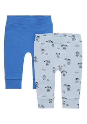 F&F 2 Pack of Plain and Pirate Puppy Cuffed Trousers Blue 0-1 months