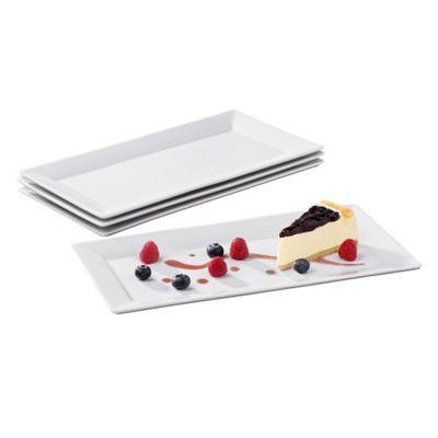 4 Piece White Rectangular Platters