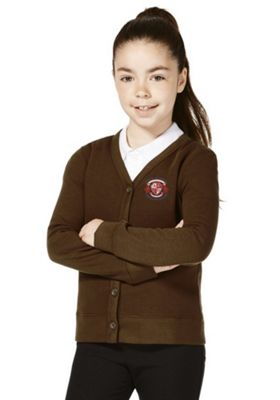 Girls Embroidered Jersey School Cardigan with As New Technology 8-9 years Brown