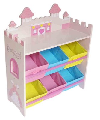 Kiddi Style Wooden Princess Castle Themed Storage Unit + 6 Bins - Pink