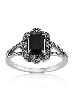 Gemondo Sterling Silver Art Deco 1.20ct Black Spinel & Marcasite Ring