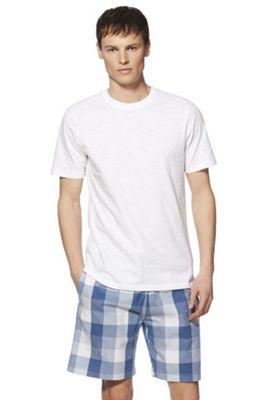 F&F T-Shirt and Checked Shorts Loungewear Set Multi White 2XL