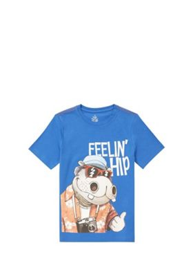 F&F Feelin' Hip Slogan T-Shirt Blue/Multi 5-6 years