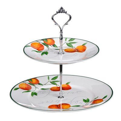 Premier Housewares Orange Grove 2-Tier Cake Plate, 25 x 27 x 27 cm