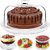 Andrew James Multi-Function Serving Bowl - Cake Stand and Chip 'n' Dip Platter - White
