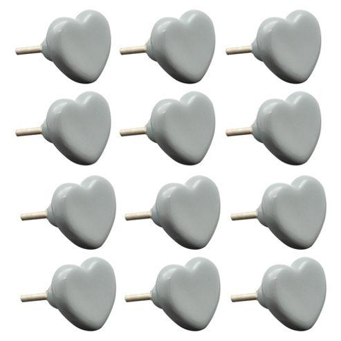 Ceramic Door Cabinet Wardrobe Knob Handle Set - Heart - Grey x12