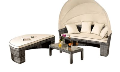 Comfy Living Rattan Sun Lounger Day Bed Garden Furniture In Grey - Table & Canopy Sofa Set