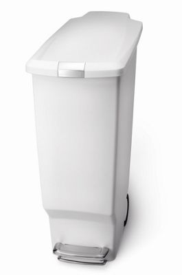 simplehuman 40 Litres Plastic Slim Pedal Bin - White