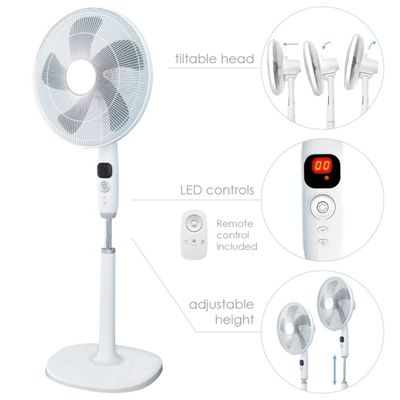 Electric 16-inch Oscillating Pedestal Fan 12 speed with remote and timer