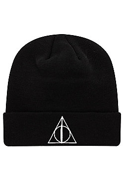 Harry Potter Deathly Hallows Beanie, Black - Black