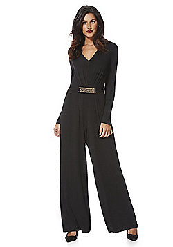 Mela London Bar Detail Long Sleeve Jumpsuit - Black