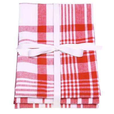 Love Colour Set of 3 Tea Towels, Scarlet