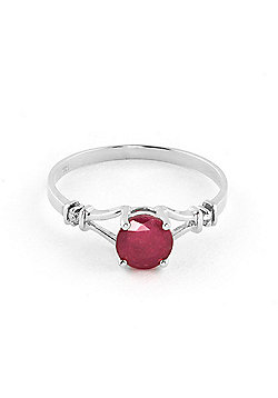QP Jewellers Diamond & Ruby Aspire Ring in 14K White Gold