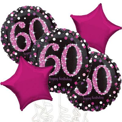 60th Birthday Pink Sparkling Celebration Balloon Bouquet - Assorted Foil 18 inch