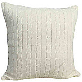Homescapes Cotton Cable Knit Natural Cushion Cover, 45 x 45 cm