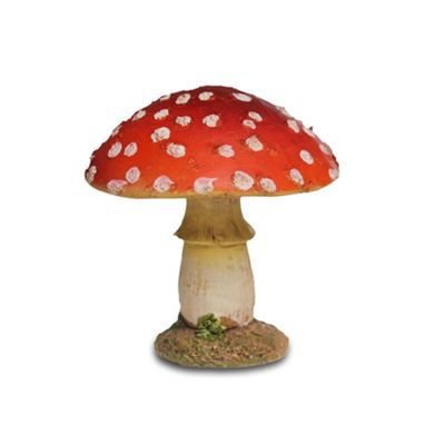 Short Round Head Red Resin Mushroom Toadstool Garden Ornament