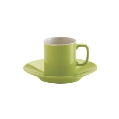 Price and Kensington Espresso Cup and Saucer, Fine Stoneware, 3 Oz/90 ml (Green)