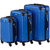 VonHaus 3pc Hard Shell ABS Trolley Suitcase Luggage Set with 4 Rotating Wheels, Combination Lock & Telescopic Handle – Blue