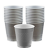 Silver Cups - 355ml Plastic Party Cups - 20 Pack