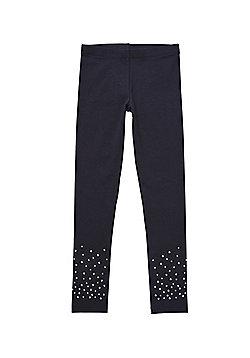 F&F Diamante Embellished Leggings - Black