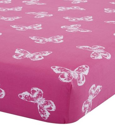Catherine Lansfield Butterfly Single Fitted Sheet Pink