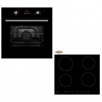 Oven & Hob Pack COF605BK CIT600 | Black Cookology 60cm Built-in Programmable Electric Fan Oven & Touch Control Induction Hob Pack