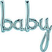 """Pastel Blue Baby Phrase Foil Balloon - 34"""""""