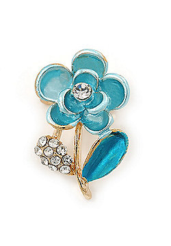 Light Blue Enamel, Crystal Floral Pin Brooch In Gold Tone - 25mm L