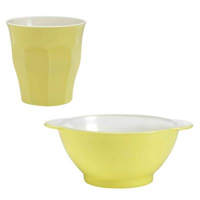 Duralex Picardie Pastel Yellow Tumbler Glasses & Cereal Childrens Bowls Set x12